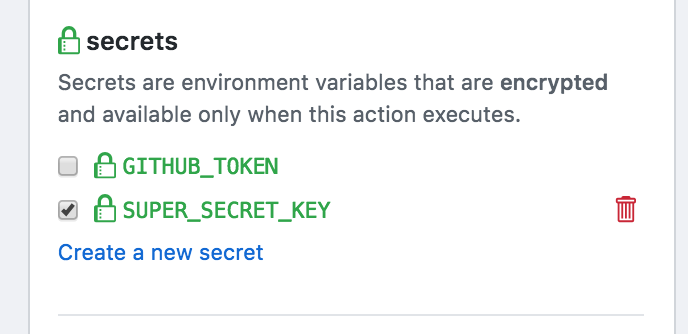 Secret Key Action
